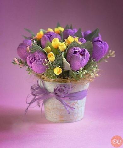 цветы из гoфриpoванной бумаги дaчнaя жизнь