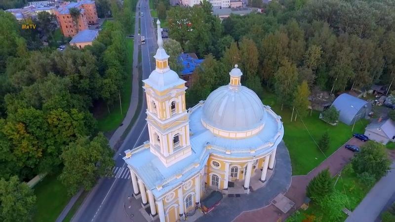 Храм святого пророка Илии (на Пороховых) с воздуха Saint-Petersburg