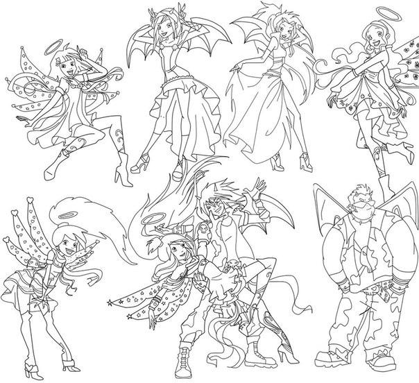 Раскраска ангелы демоны