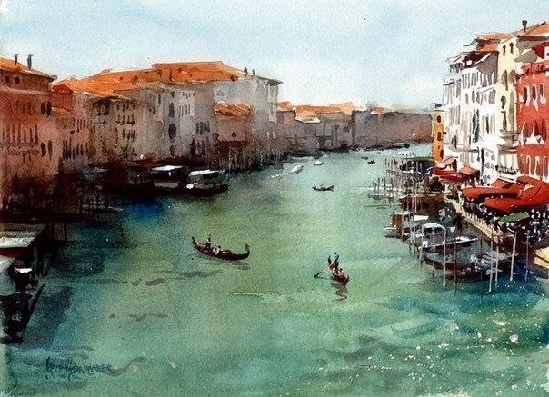 Великолепные пейзажи Венеции написанные акварелью от художника Keith Hornblower