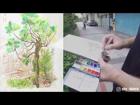 Speed sketch. Urban Sketch. Taiwan, Zhongli.