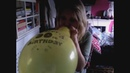 The balloon challenge with a yellow happy bday balloon