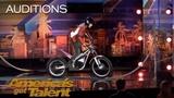 Kenny Thomas Daredevil Motorcyclist Terrifies Howie Mandel - America's Got Talent 2018