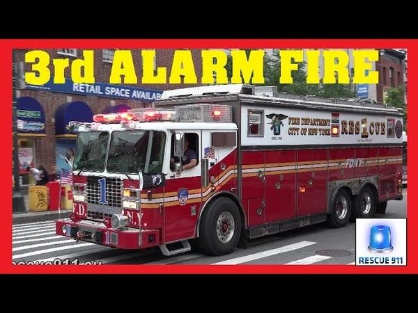 [Manhattan] 3rd ALARM - Major FDNY response - Lots of lights siren action
