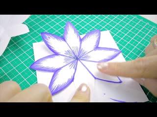 DIY 3D объемная Открытка с цветами на 8 марта своими руками.