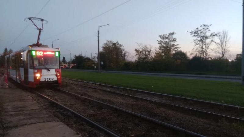 Трамвай, маршрут №62 ЛВС-2005 б.1107 (20.09.2018) Санкт-Петербург