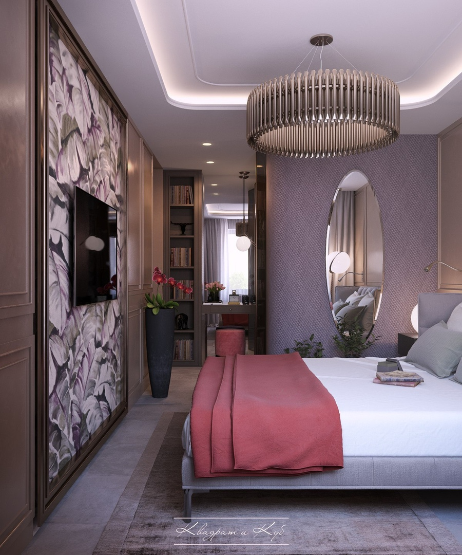 Design and visualization bedroom in Moscow.