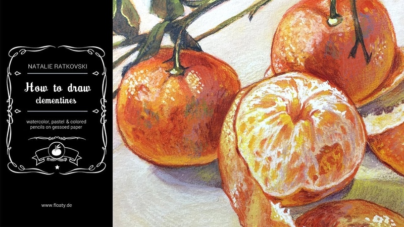 How to draw clementines (watercolor, gouache, pastel, colored pencils)