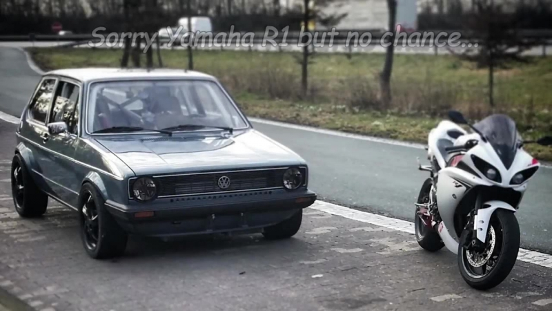 VW Golf Mk1 1056HP vs Yamaha R1 182HP street race Full Version CMIYC1