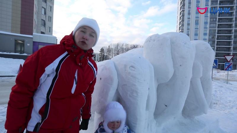 Автор скульптуры «Слоны» для Фестиваля снежных скульптур в Кольцово Елена Кирюхина