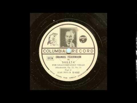 Hindemith Unaccompanied Cello Sonata Feuermann 1934