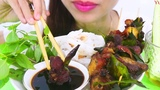 ASMR Grilled Lamb Chops , barbecue food EATING SOUNDS Huyen Yummy ASMR