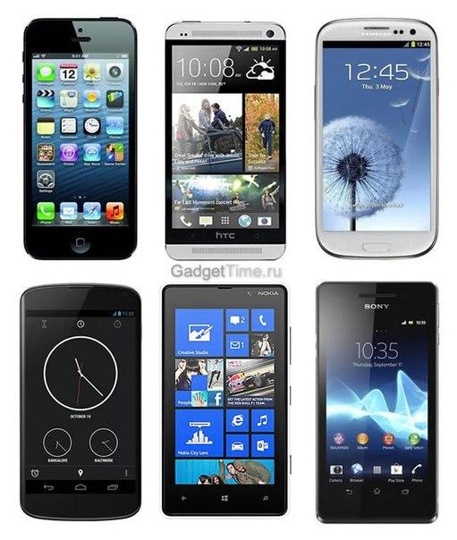 Современные смартфоны и телефоны 2013 года