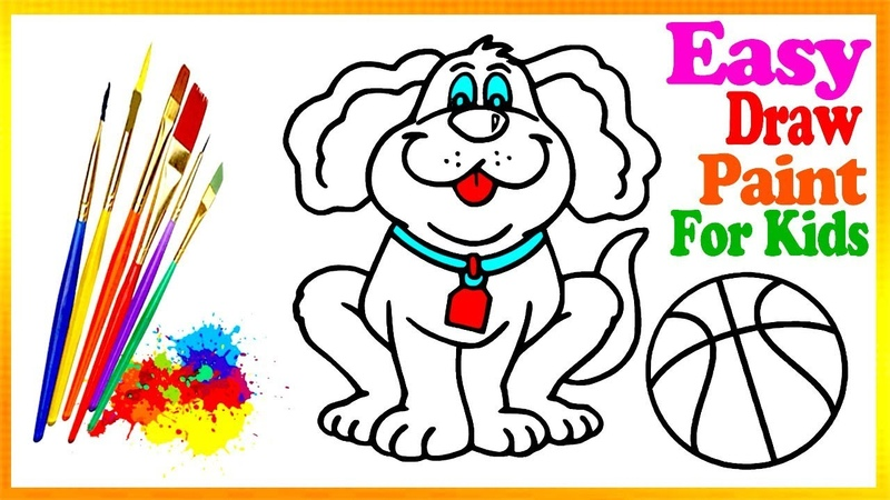Drawing Dog-Scooter Coloring Book | Kids Learn Easy Painting Colors Pages Video228
