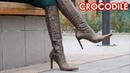 Christina's Gianmarco Lorenzi pointy high heels boots Bronze Crocodile print EU 38 5 US 8