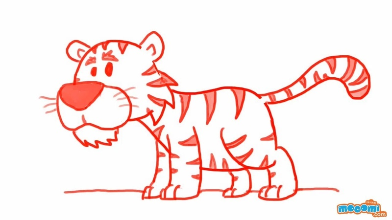 How to Draw a Tiger - Step By Step Drawing for Kids | Educational Videos by Mocomi
