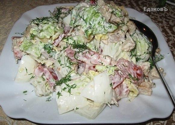 Вкусный салатик с пекинской капустой