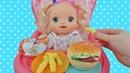 Пупсики Беби Элайв Соня кушает гамбургер/Pretend play with Doll Baby Alive/Играем в куклы Зырики ТВ