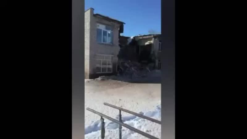 Обрушение центральной части здания школы в д.Большие Чаки Урмарского р-на Чувашии