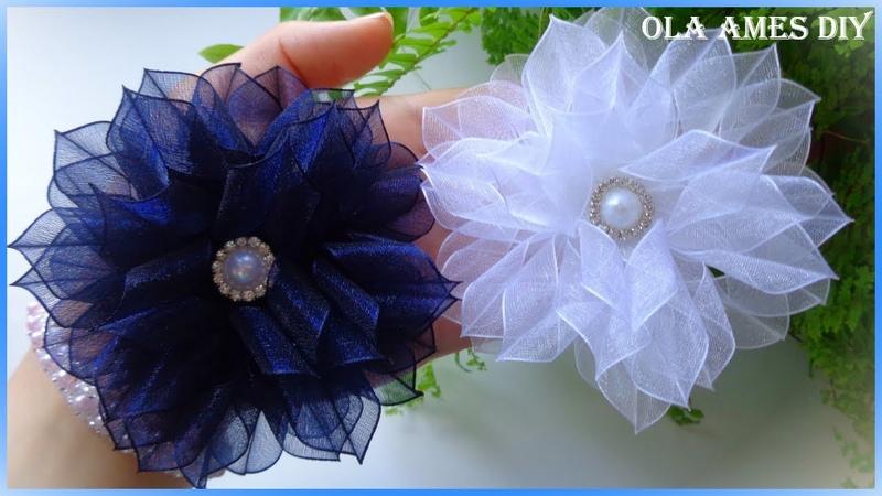 Цветы из органзы 1 5 см Канзаши Organza Ribbon Flower Kanzashi Flores de fitas Ola ameS DIY
