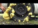 What will happen if fill the wheel construction foam EXPERIMENT, Emergency fix a flat tire