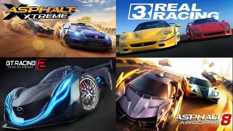 Real Racing 3 vs Asphalt 8 vs Asphalt Xtreme v GT Racing 2 Glitch Best Free Android IOS Racing Games