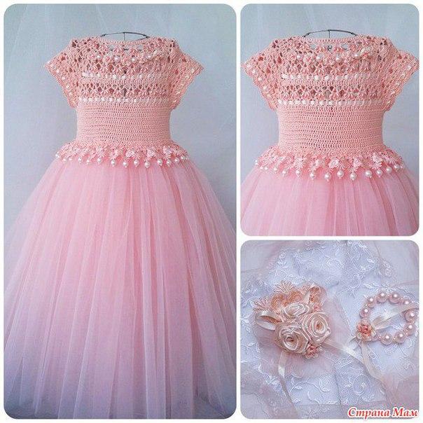 Нарядное платье крючком юбка из фатина… (7 фото)