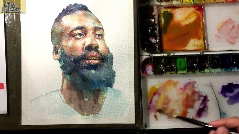 Watercolor Portrait Tutorial 3X Video(Finishing course 2/2) 인물수채화 마무리단계 -3배속