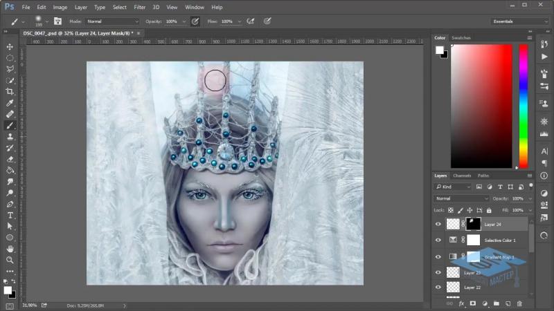 Photoshop (Фотошоп). Делаем фотоарт для зимнего портрета. Часть №3. (Марина Эл)
