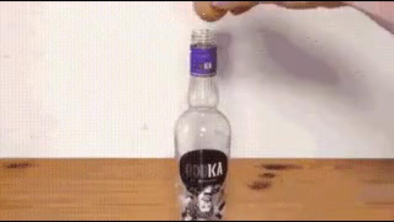 как просунуть яйцо в бутылку