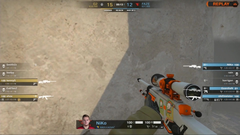 ноускоп от NiKo vs G2 Esports @ FACEIT Major 2018