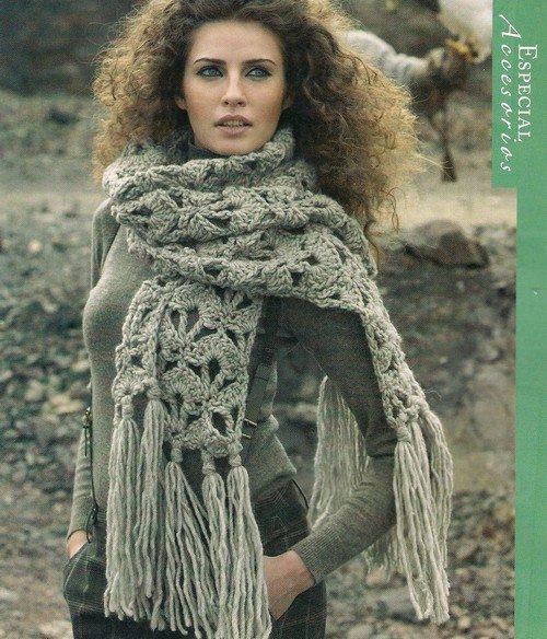 Теплый шарф #крючком. Схема в