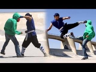 Karate Guy vs Street Gang Fight Scene (Tekken / Ong Bak Style, Real Hits)