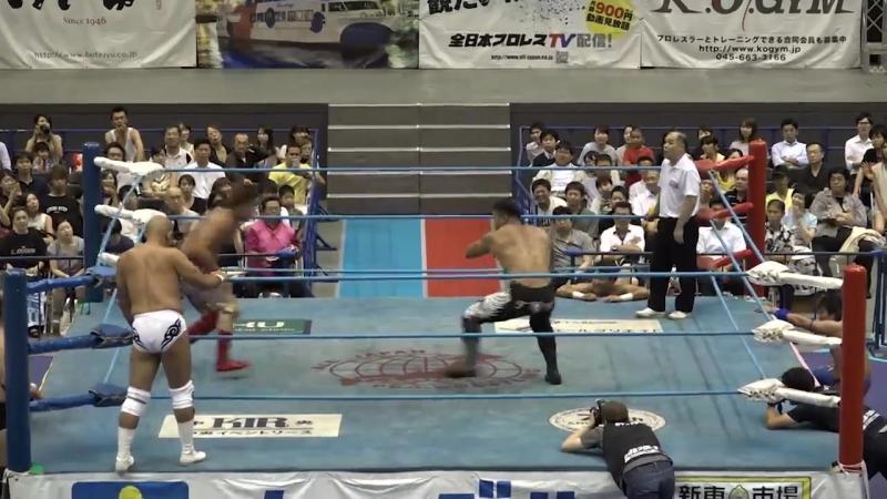 Jun Akiyama, Zeus, Joe Doering vs. Kento Miyahara, Yoshitatsu, Yuma Aoyagi (AJPW - Summer Action Series 2018 - Day 4)