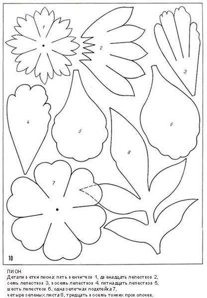 Цветы из бумаги, ткани и фоамина: шаблоны для изготовления цветов