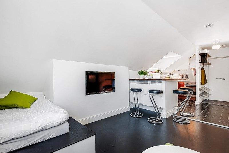 Студия-мансарда 31 м со спальной зоной на подиуме.