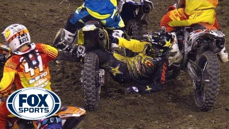 Ivan Tedesco Dragged by Legs Across Track Indianapolis Supercross 2014