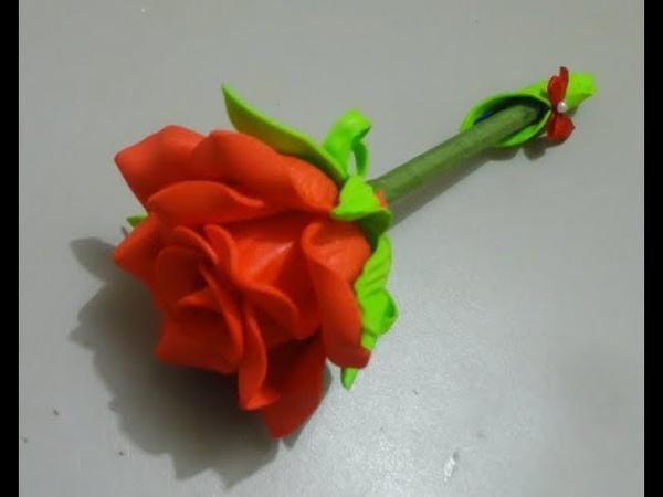 Como fazer caneta decorada com rosa de e.v.a (com Frisador) link do molde, dayaherthal.blogspot.com
