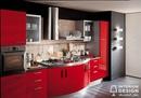 Кухня в красно-черных цветах для решительных людей.