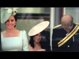 Kate, Meghan and Harry curtsying to the Queen on balcony of Buckingham Palace TroopingtheColour