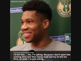 """""""Giannis said he'd """"kill"""" The Rock in a wrestling match and then he quickly took it back 😂 (viabucks"""""""