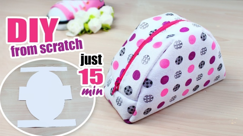 DIY Zipper Round Pouch Bag from scratch ~ DIY MINI DOTTED BAG TUTORIAL