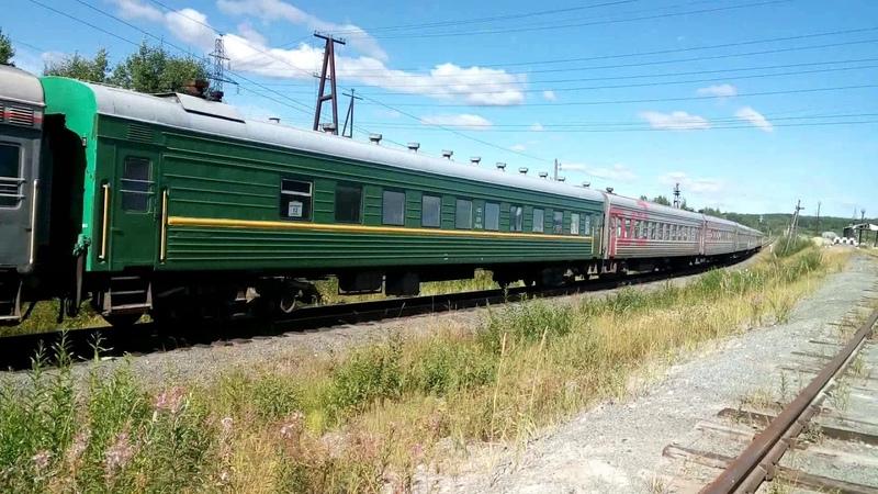 19 вагонныйТепловоз ТЭП70-516 с пассажирским поездом Приобье-Екатеринбург.