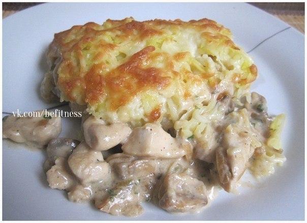 Курица с грибами, запечённая под картофельной шубой… (1 фото) - картинка
