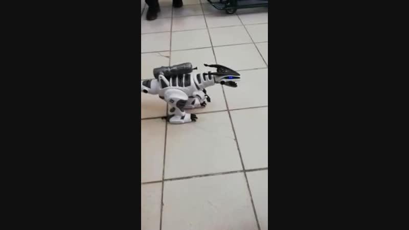 Динозавр радиоуправляемый, ходит, реагирует на прикосновения, двигает шеей, шевелит хвостом, стреляет соф-патронами, со световым