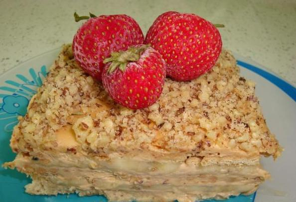 торт с фруктами со сметаной без выпечки рецепт с фото
