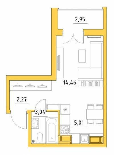 Интерьер квартиры-студии почти 25 м (с лоджией — 28 м) в Петрозаводске.
