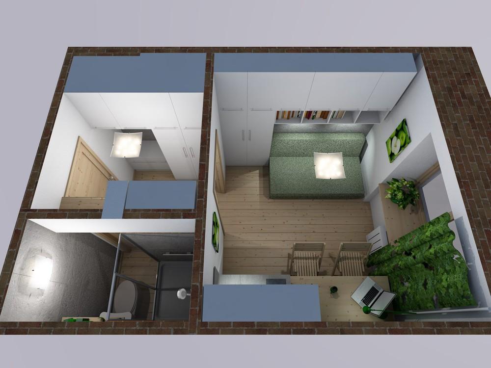 Проект крошечной студии 12 м.