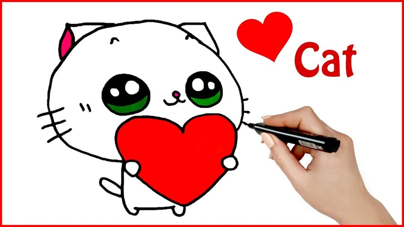 Cute Cat Coloring and Drawing for Kids Learn Colors with Cute Cat Valentine's day drawing ideas