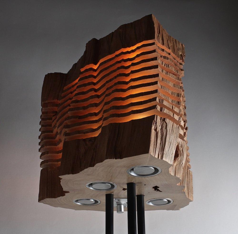 Minimalist wooden light sculptures by Split Grain